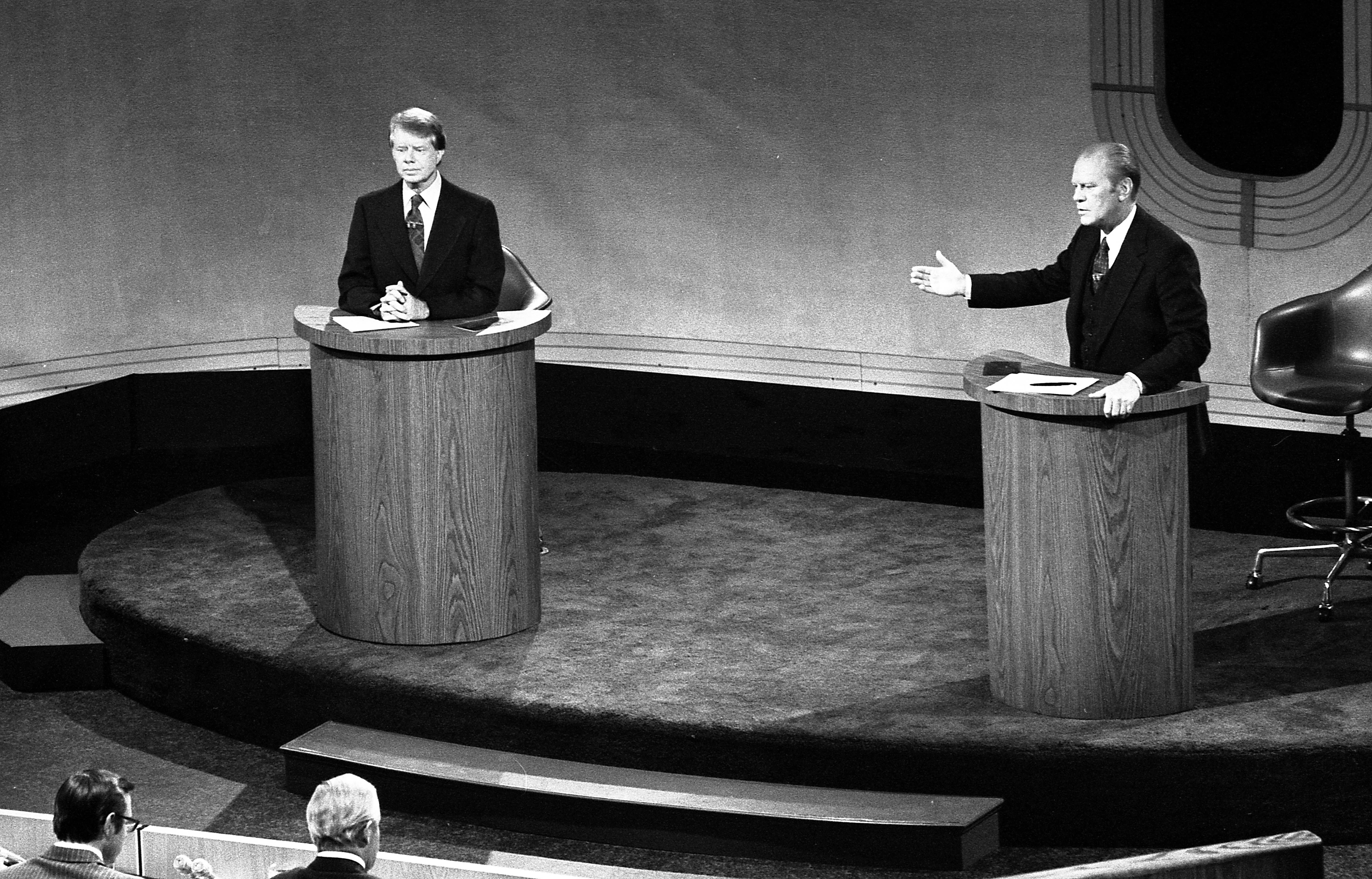 Jimmy Carter And President Gerald Ford Debating At The Walnut