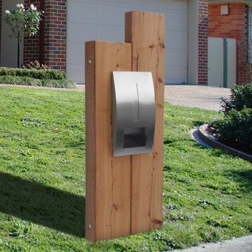 Milkcan Letterbox Sleeper Timber Panel Stainless Steel Mailbox Briefkasten Freistehend Briefkasten Holz Briefkasten