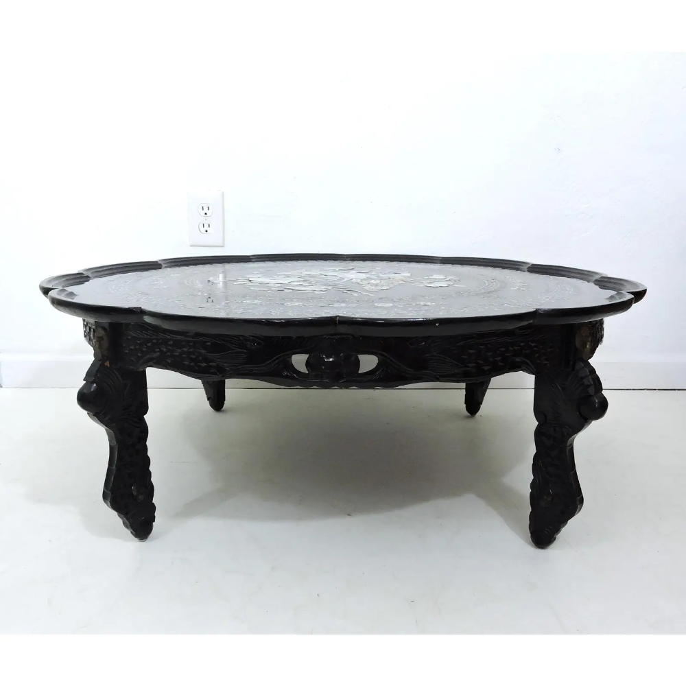 Mid 20th Century Asian Black Lacquer And Inlaid Mother Of Pearl Folding Round Coffee Table Coffee Table Round Coffee Table Folding Coffee Table [ 1000 x 1000 Pixel ]