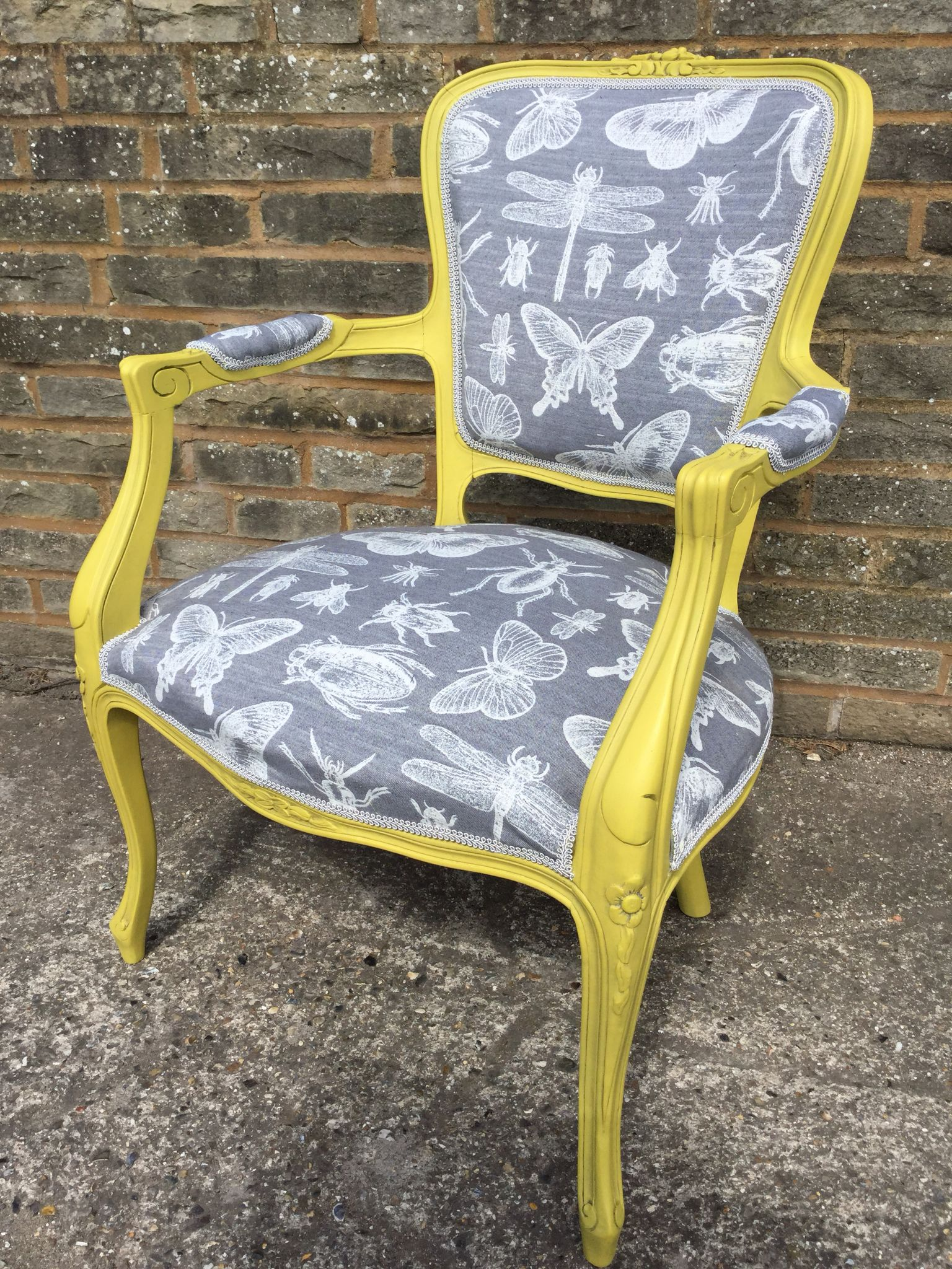 French Louis XV Chair Painted In Autentico Yellow Tan And Anthracite Wax  With Grey And White Insect Fabric.