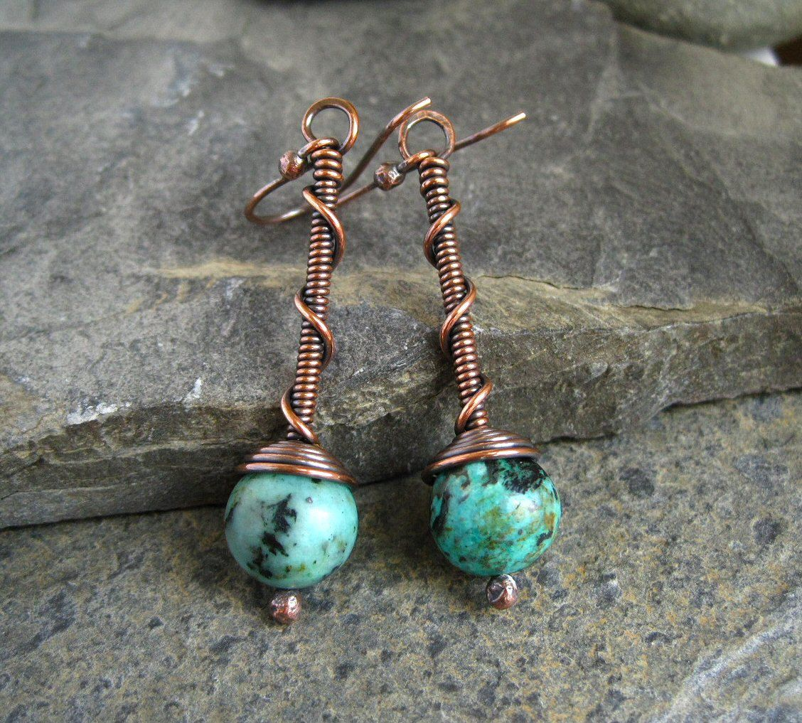 Oxidized Copper Earrings, copper beaded earrings, | Jewelry ...