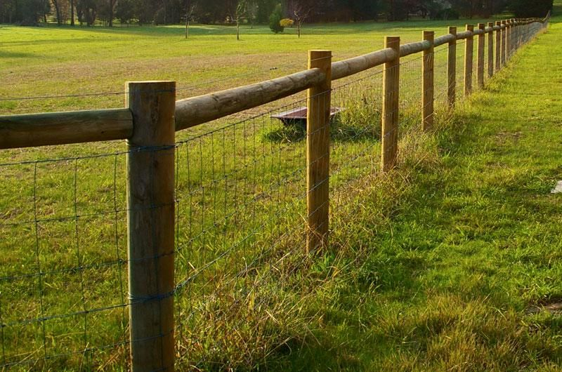 Rural Fencing I Like This Fence But Would Use Square Timber Posts Beams Instead Of Round Ones Farm Fence Backyard Fences Dog Fence