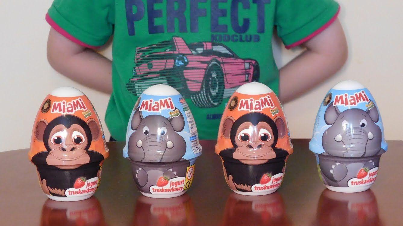 4 Surprise Eggs Miami Funny Jungle 4 Jajka Miami Jogurt Grom Toy