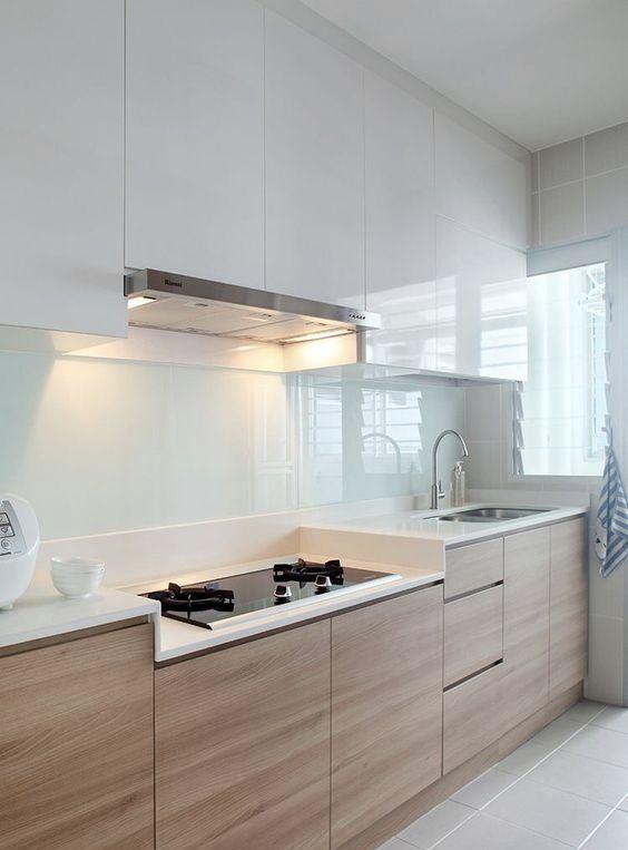 Cozinha Clean 60 Modelos e Projetos Incríveis Revestimento de vidro - modelos de cocinas