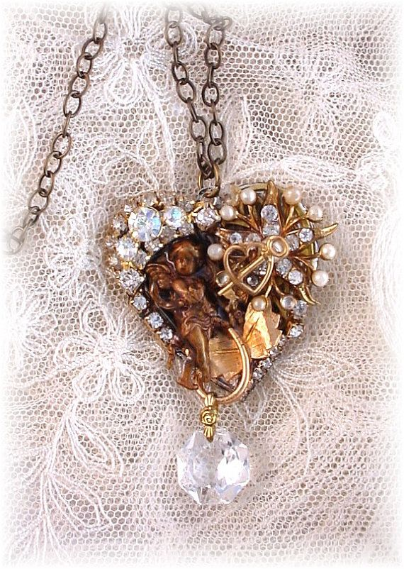 ON SALE  Heart Collage Necklace by trashtotreasureart on Etsy, $24.00