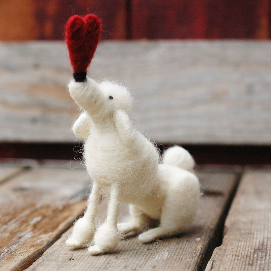 Valentine Poodle in White - Needle Felted Unconditional Love by BossysFeltworks via Etsy.  Eighty dollars US.
