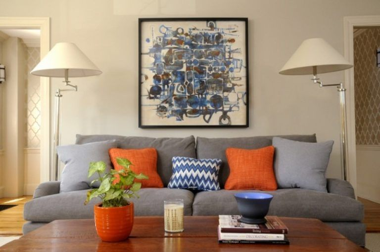 Magnificent Blue And Orange Living Room Blue Orange Gray Home
