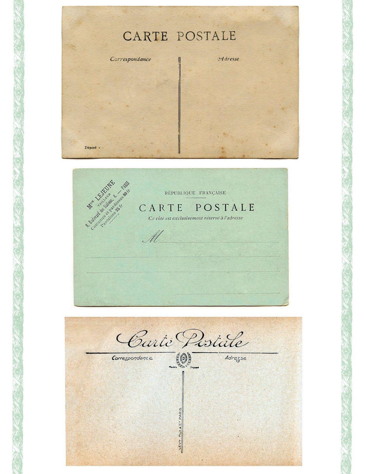 8 Vintage Ephemera Clip Art Carte Postale Postale Cartes
