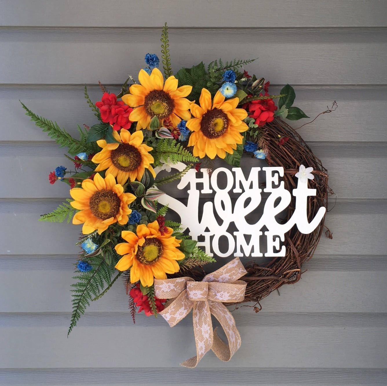 Sunflower Wreath, Sunflower Wreath For Front Door, Year Round Wreath,  Country Wreath,