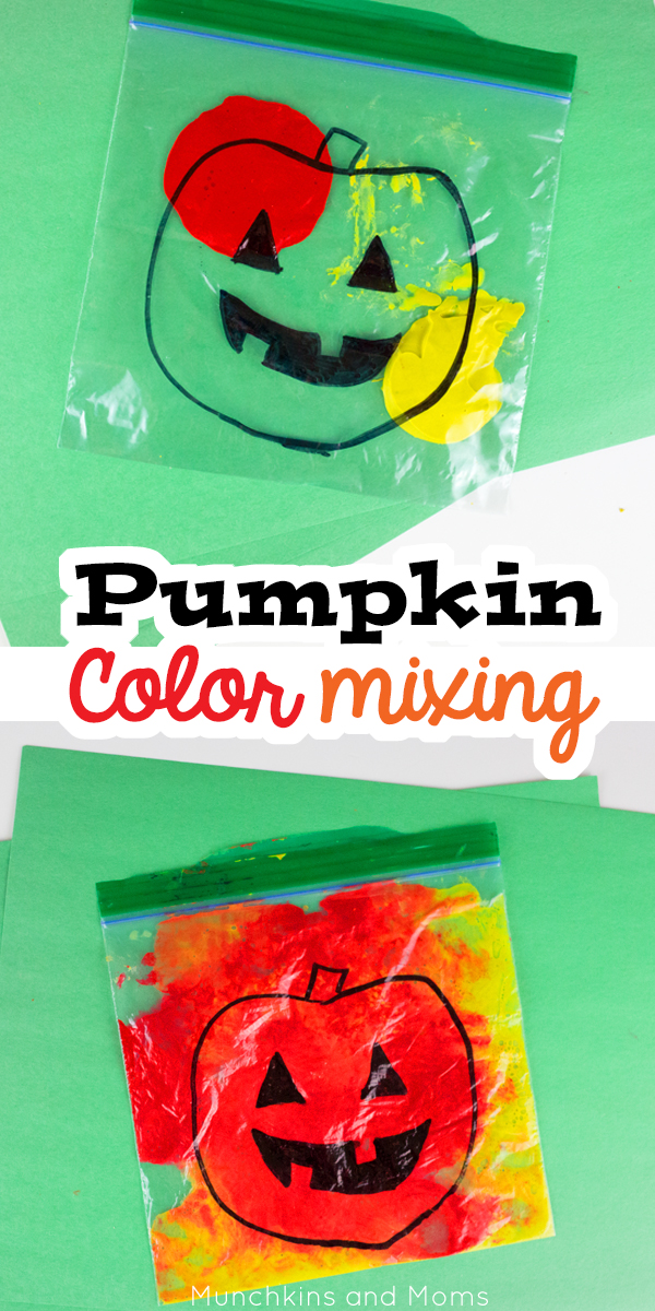 Pumpkin Color Mixing Activity - Munchkins and Moms