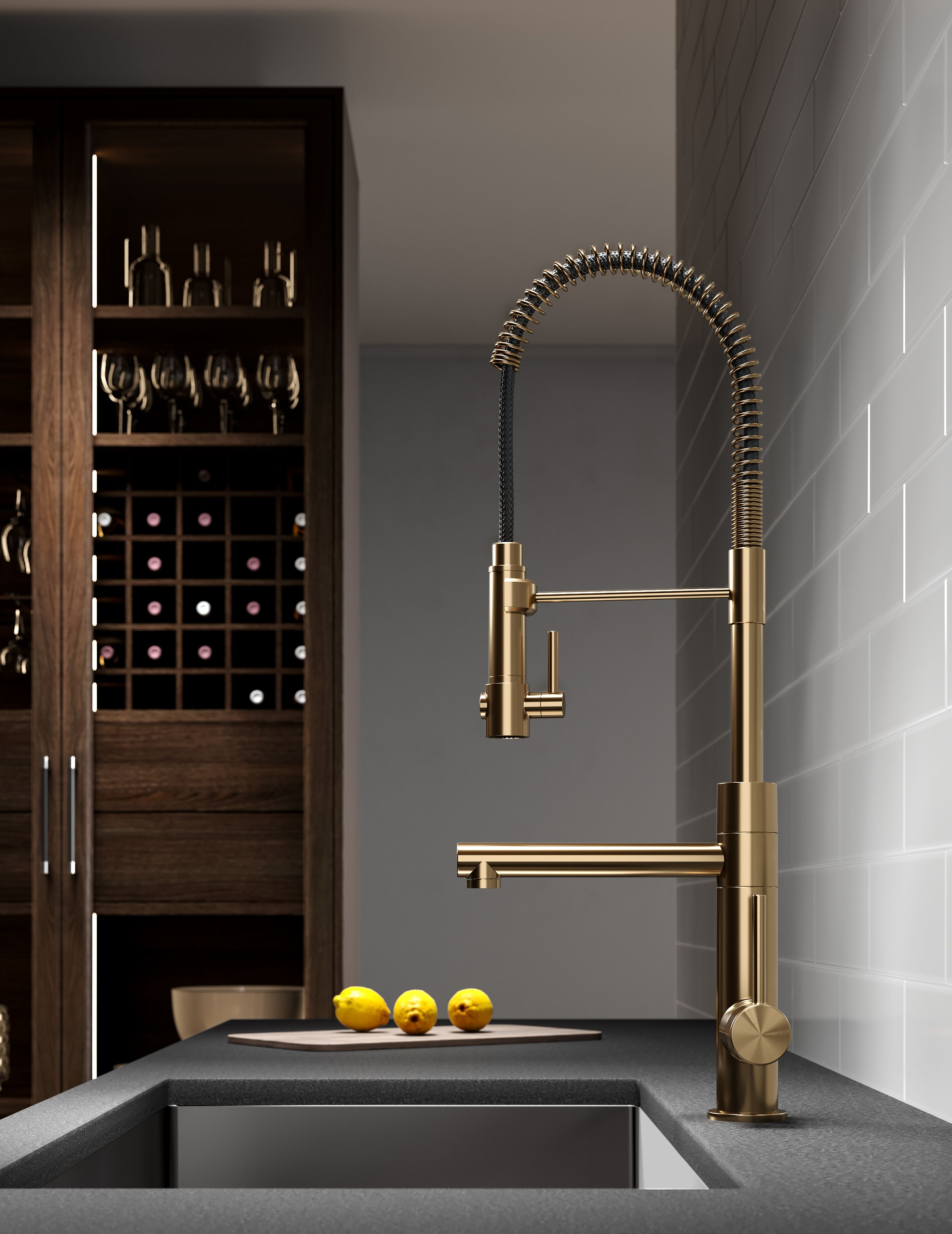 A Commercial Style Kitchen Faucet That Exemplifies Modern