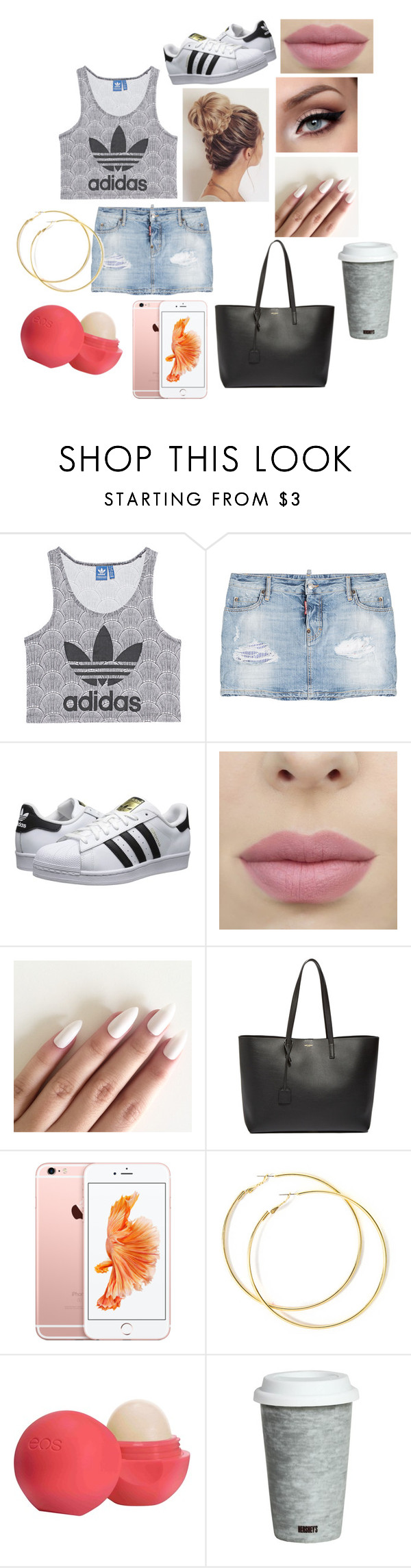 """look pour allez au lycee"" by emmasargero on Polyvore featuring adidas Originals, Dsquared2, Yves Saint Laurent, Eos et Fitz and Floyd"