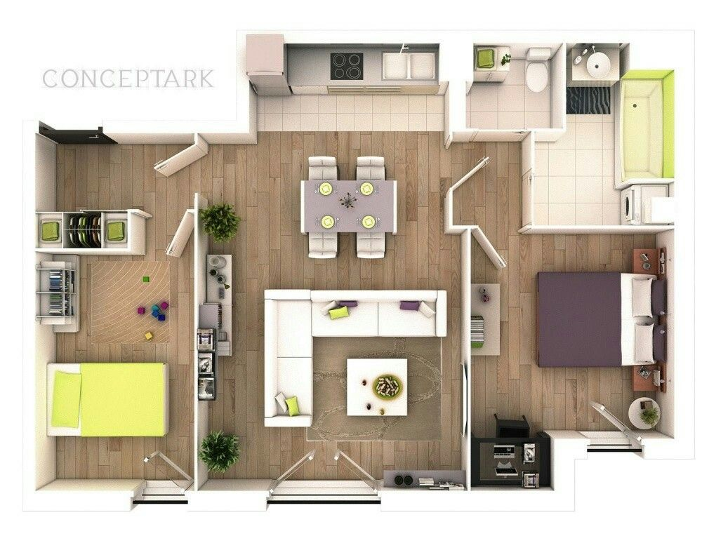 10 Awesome Two Bedroom Apartment 3D Floor Plans Bedroom apartment