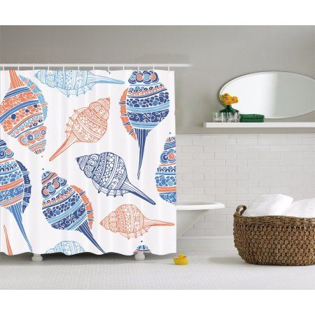 Home Fabric Shower Curtains Seashell Shower Curtain Modern