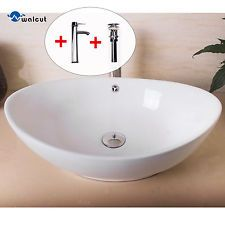 Bathroom Oval Ceramic Vessel Sink Bowl Pop Up Drain Faucet Combo
