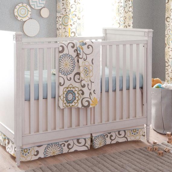 Gender Neutral Baby Crib Bedding Boy Spa Pom Pon Play 2 Piece Set By Carousel Designs