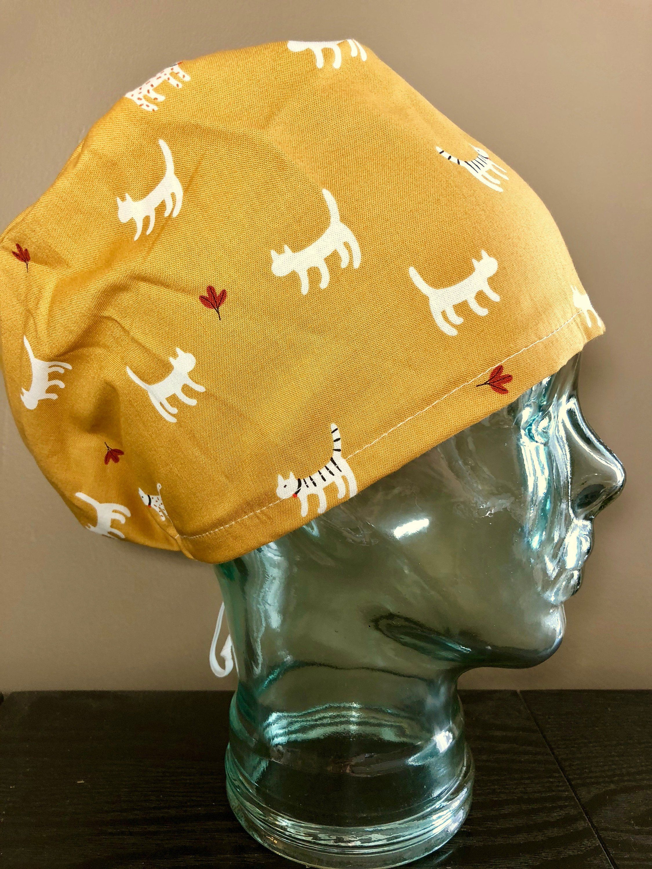 f9bab473dae94 Fall Kittens on Golden Yellow Surgical Scrub Hat