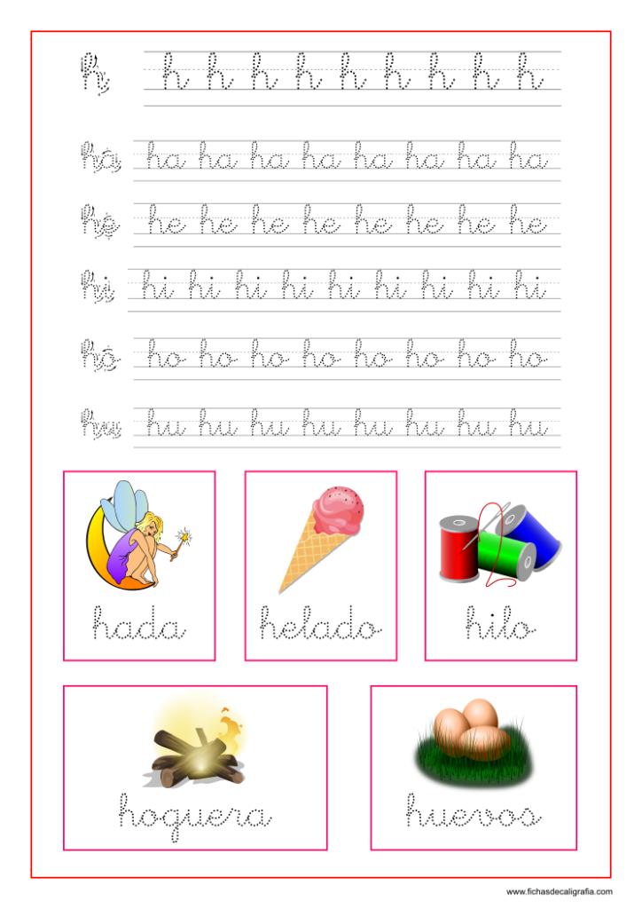 Ejercicio Con La Letra H Y Las Vocales Para Preescolar Y Primaria Carpetas De Escritura Enseñanza De Las Letras Trazos De Letras