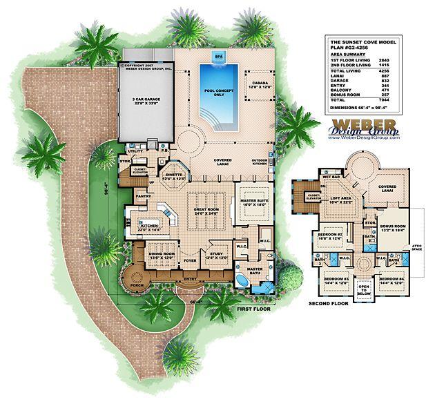 beach house plan: key west style beach home floor plan | coastal