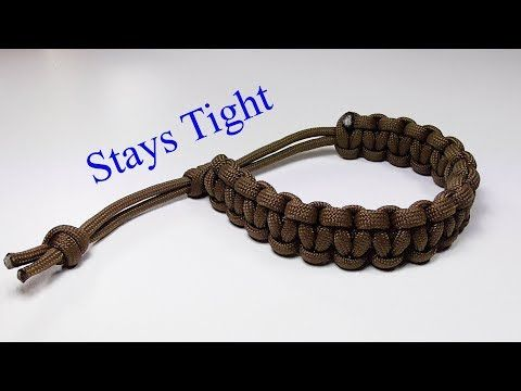 Adjustable Paracord Survival Bracelet No Buckle Sliding Knot