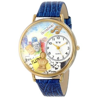Whimsical Unisex Drama Theater Royal Blue Leather Watch. #dramatheatre