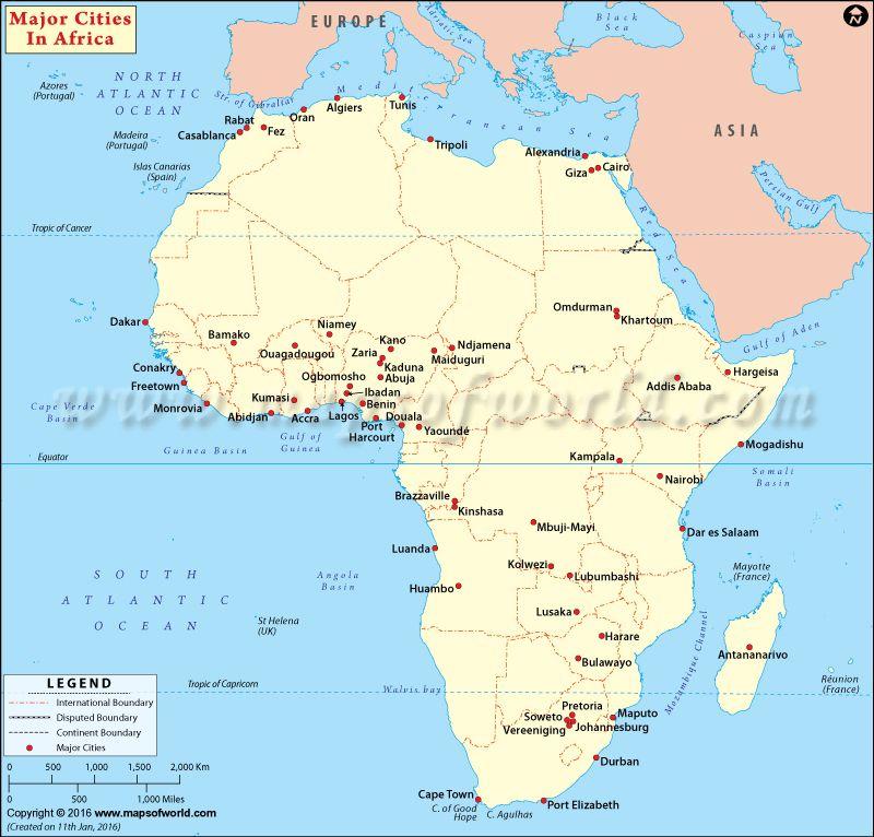 Cities In Africa Map Major Cities in Africa | Cities in africa, Africa, Map of continents