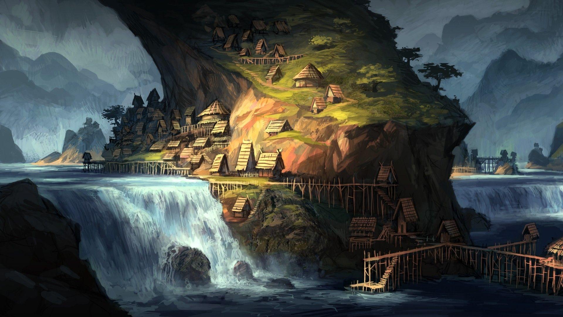 Fantasy landscapes village 1920x1080 26614