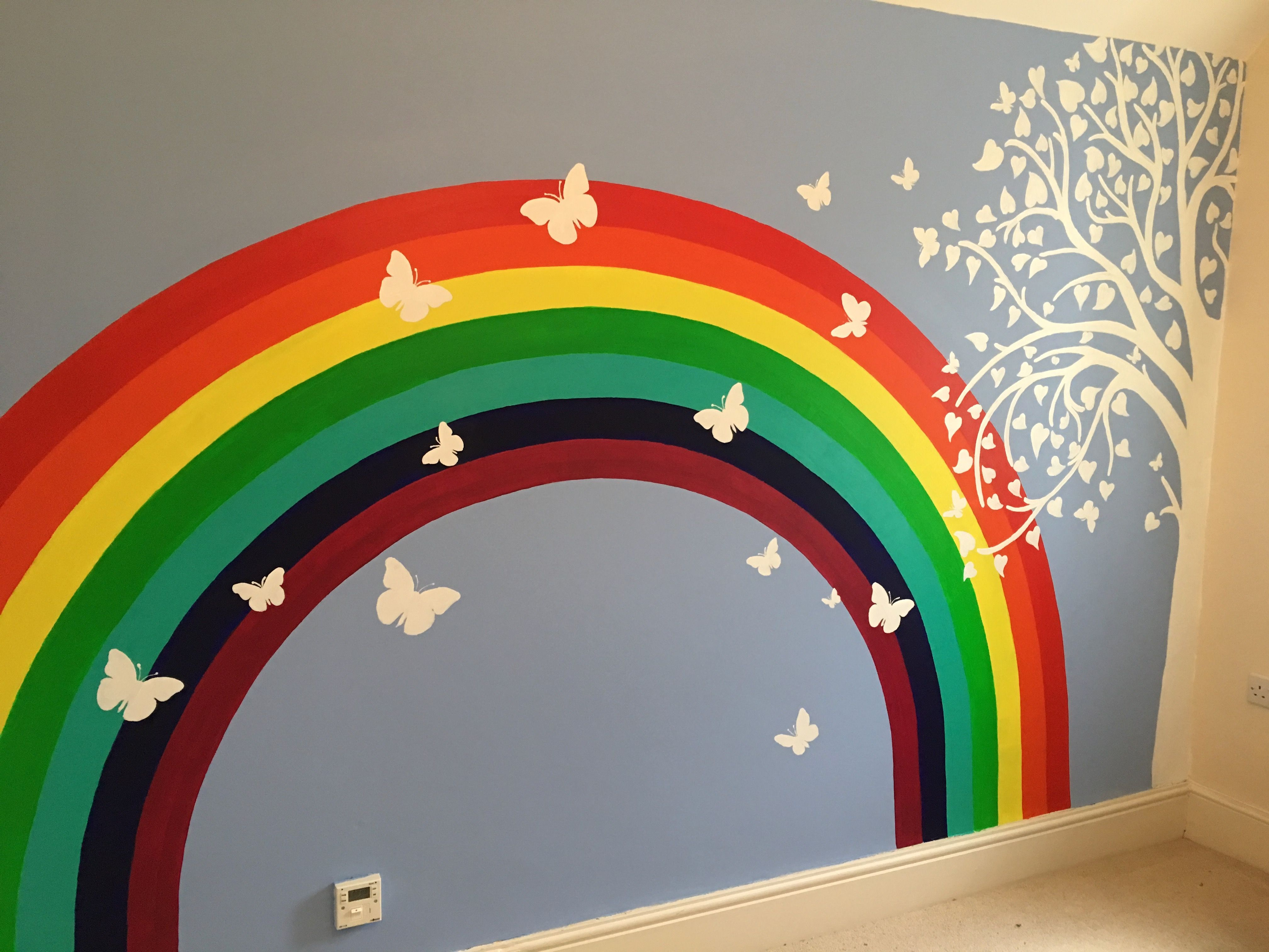 Rainbow And Butterflies Kids Room Paint Rainbow Bedroom Girls Rainbow Bedroom