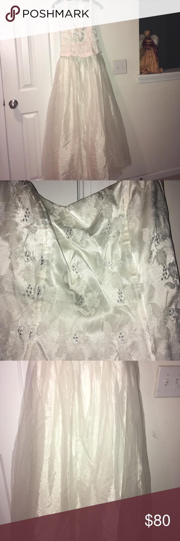 Prom dress white and silver full length halter top mesh bottom