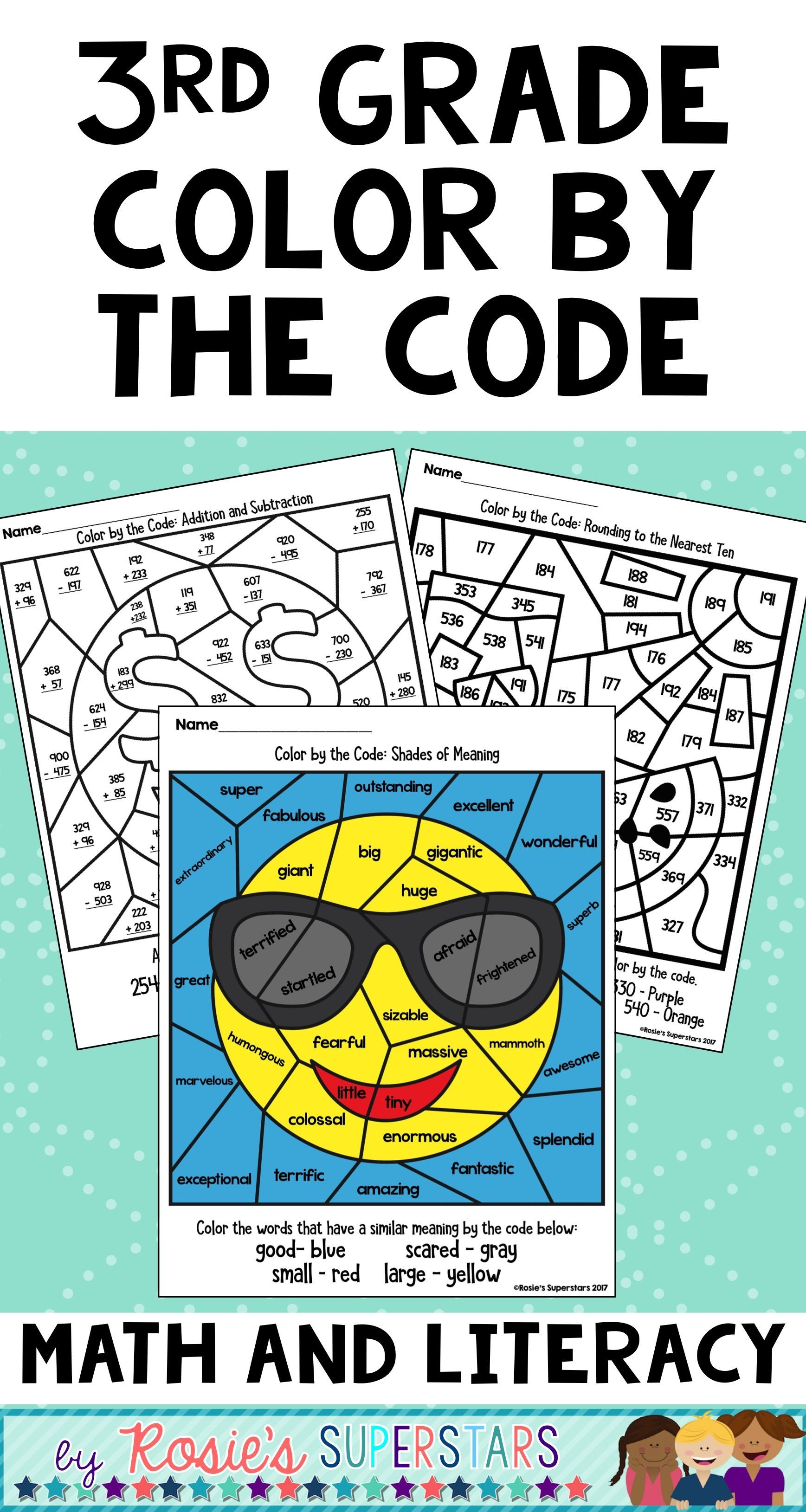 3rd Grade Math and Literacy Color by the Code Activities | Pinterest ...