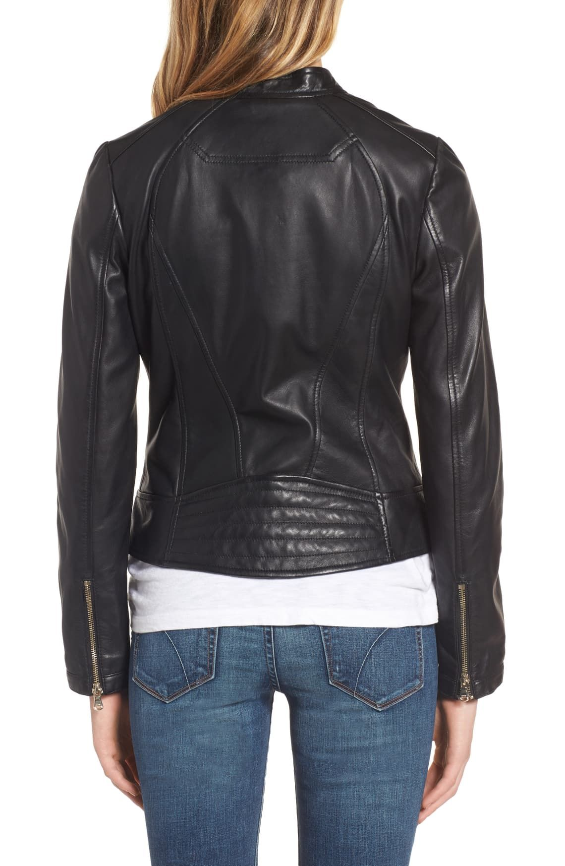 Guess Collarless Leather Moto Jacket Nordstrom Leather Moto Jacket Jackets Collarless [ 1746 x 1140 Pixel ]