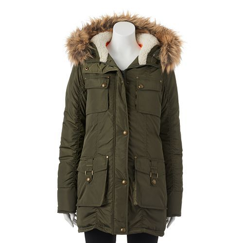 e96268972 Juniors' Madden Girl Cargo Plush Hood Jacket | 2015- 16 Winter Coat ...