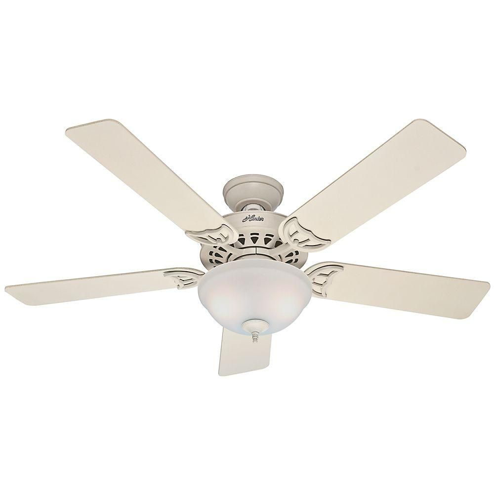 Hunter Sonora 52 In Indoor White Ceiling Fan French Vanilla With Light Kit 53173 The Home Depot White Ceiling Fan Ceiling Fan With Light Ceiling Fan