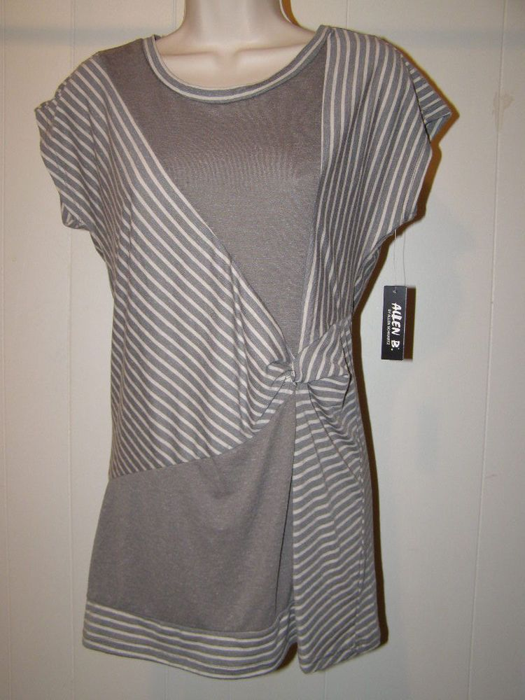 New Allen B by Allen Schwartz Gray Striped Poly Cotton Linen Tunic Top Small #AllenBbyAllenSchwartz #Tunic #Casual