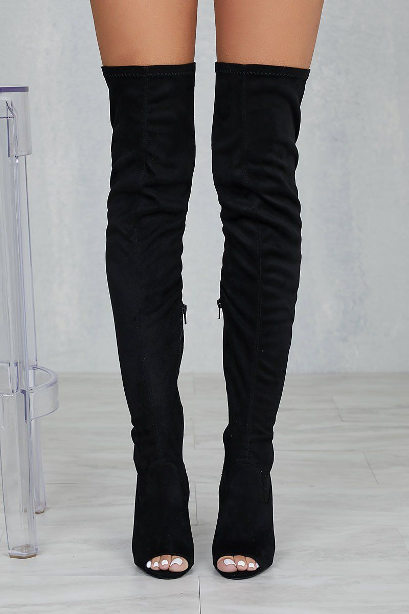5da97d7c159 Lori Thigh High Peep Toe Boot (Black) in 2019 | Outfit | Boots ...