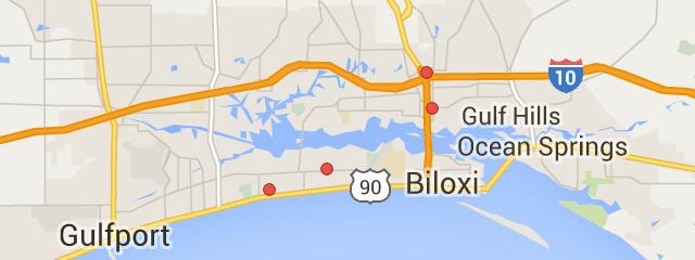 Map Of Biloxi Ms Walmart Biloxi Gulfport Map