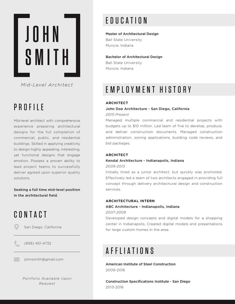 Gallery Of The Top Architecture Résumé/CV Designs   4  Resume Or Cv