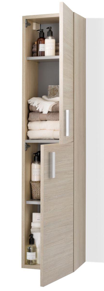 Ce Meuble Colonne 2 Portes Woodstock Presente Les Caracteristiques Suivantes Gain De Temps A L Tall Cabinet Storage Doorless Shower Bathroom Medicine Cabinet