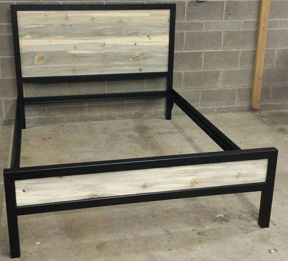 Modern Industrial Powder Coated High Back Bed Frame W By Jevworks