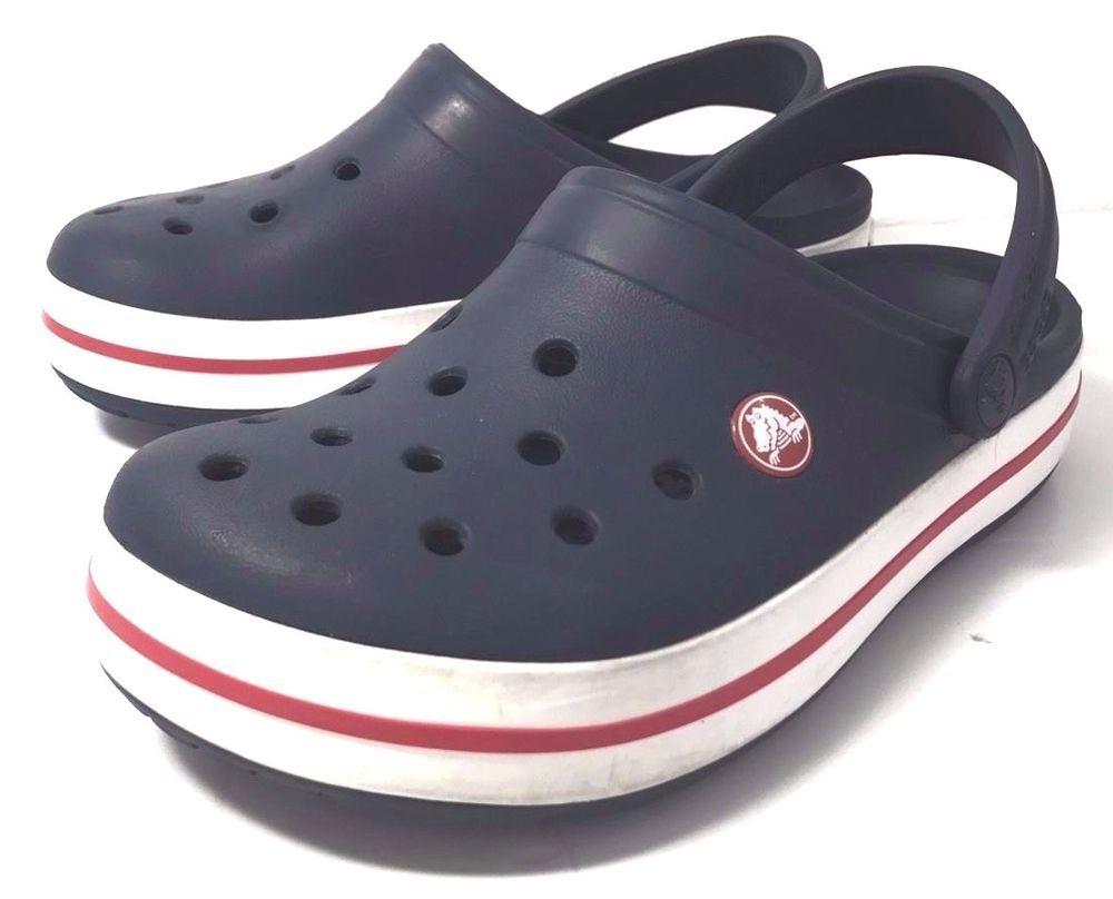 bd6096d9d Crocs Clogs Sandal GENUINE Blue White Red Stripe Size Mens 4 Womens 6 SHOES   eBayDanna