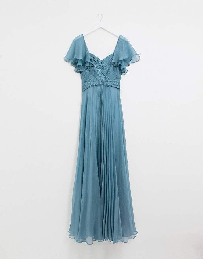8b0ecadeb32 Asos Tall DESIGN Tall Bridesmaid pleated bodice maxi dress with flutter  sleeve  Bridesmaid pleated DESIGN