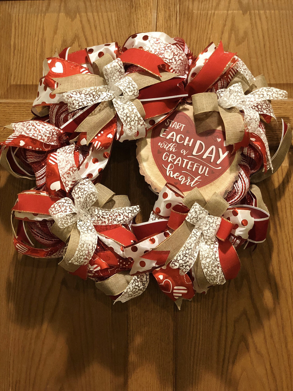 Photo of Valentine Wreath, wreath, Wreath bow, Wreath signs, Wreath for front door, Valentine decor, heart, best selling