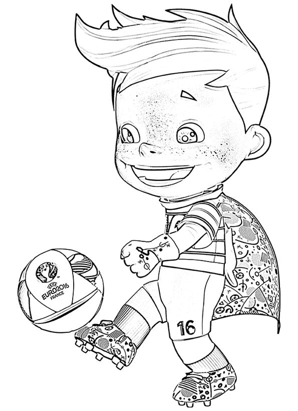 Mascotte Super Victor Frankrijk Ek Voetbal 2016 Kleurplaat