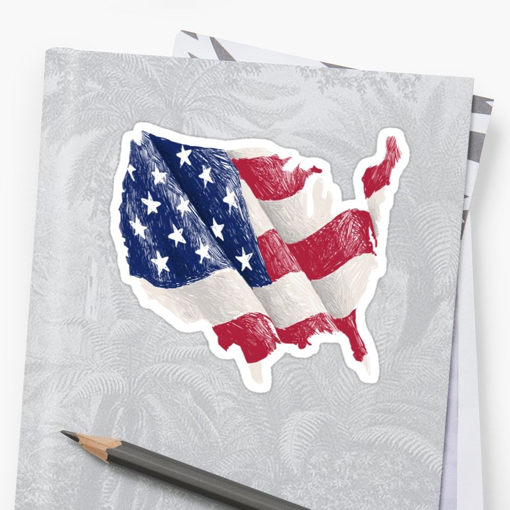 United States Map Flag Sticker Countries United States Map - American-flag-us-map