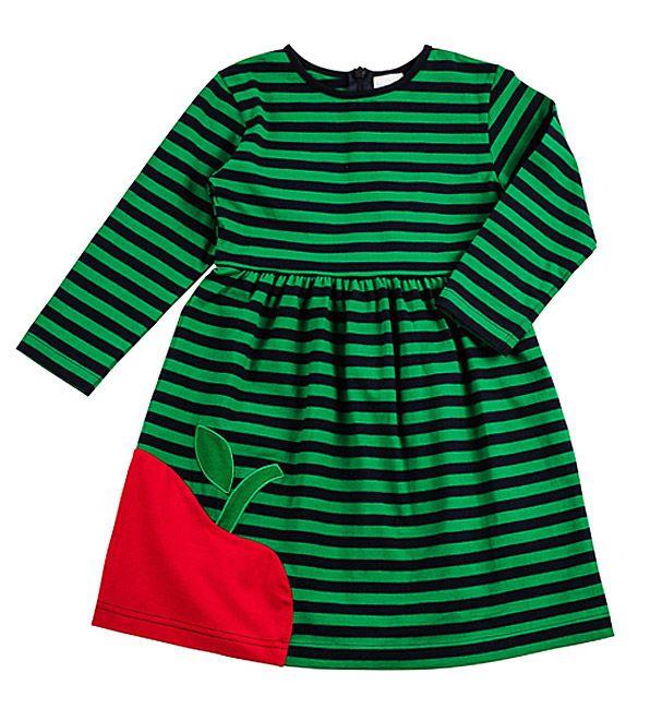 Florence Eiseman Girls Navy   Green Striped Big Red Apple Dress ... 63a9c9ee0