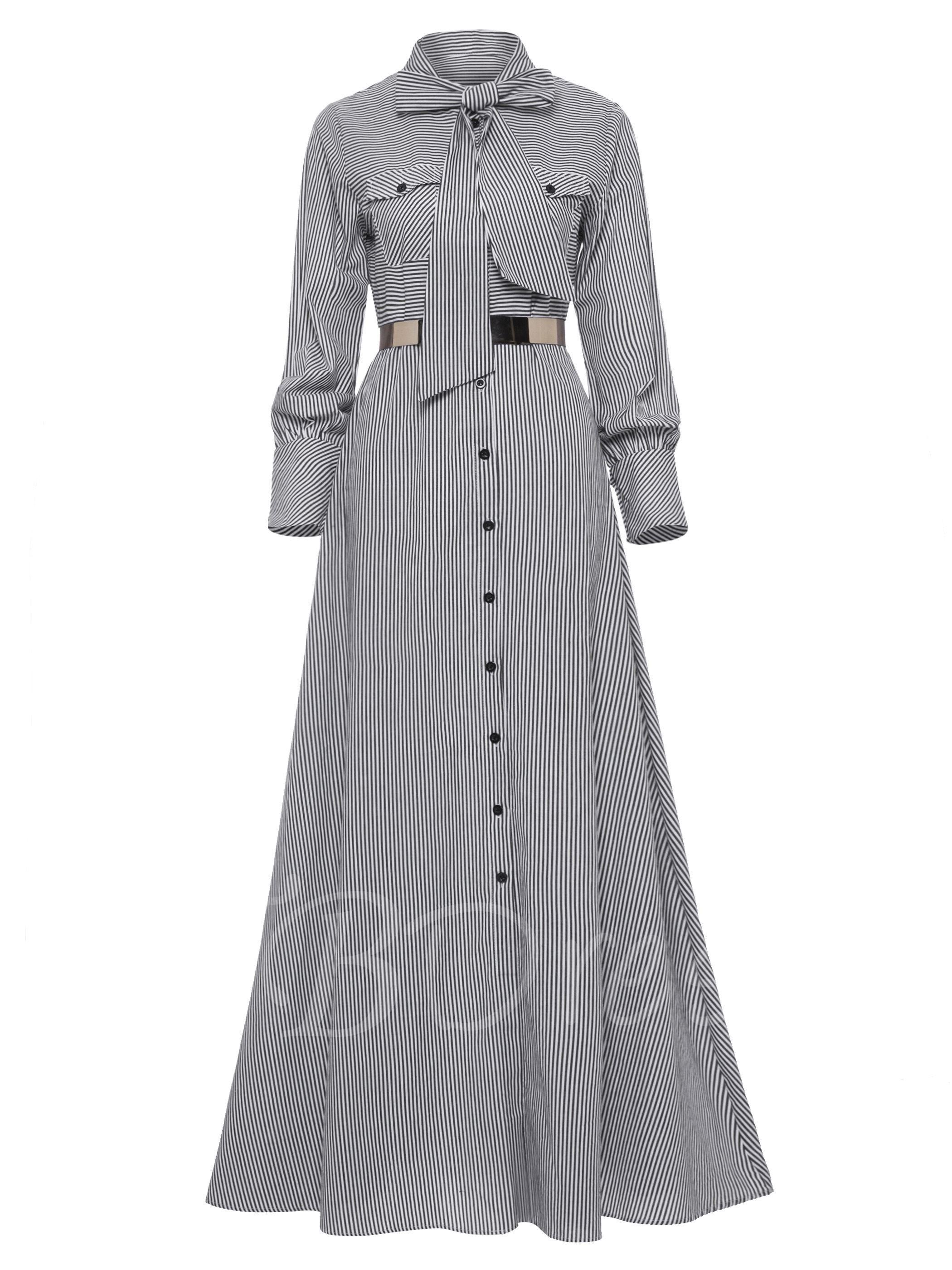 Tieneck button long sleeve womenus maxi dress vestidos ii