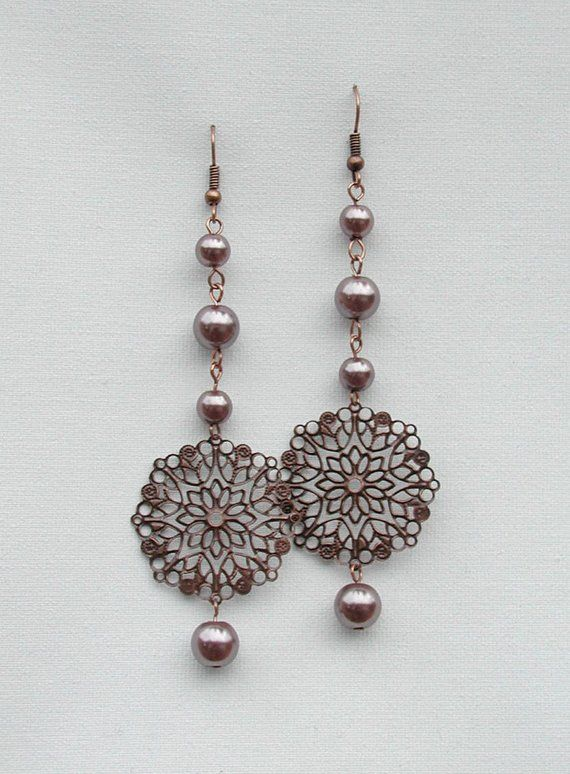 c7580b28a2c44 Dangle Chain Earrings, Copper Pearls Bead Chain with Floret ...