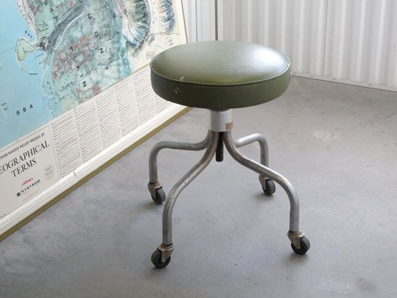 Vintage Medical Stool On Casters Avocado Green Vinyl Upholstery Adjustable Seat Height By Steelcraft Via Cathode Blue O Medical Stool Vintage Medical Decor