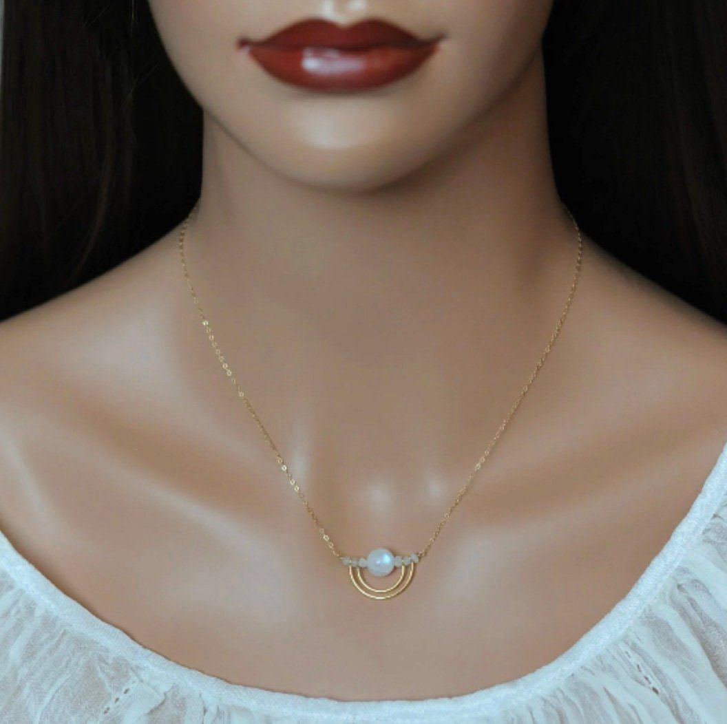 Moonstone Necklace Layering Necklace Opal Necklace Bohemian Jewelry Dainty Moonstone Necklace Protection Necklace Yoga Jewelry