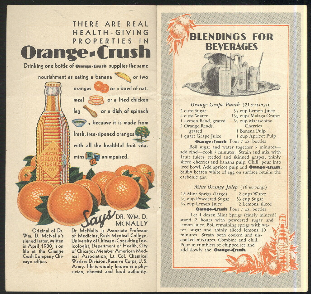 Rare 1930 40s Booklet Advertising Orange Crush Conway Spgs Bot Co Wichita Ks In 2020 Orange Crush Advertising Signs Chicken Dishes